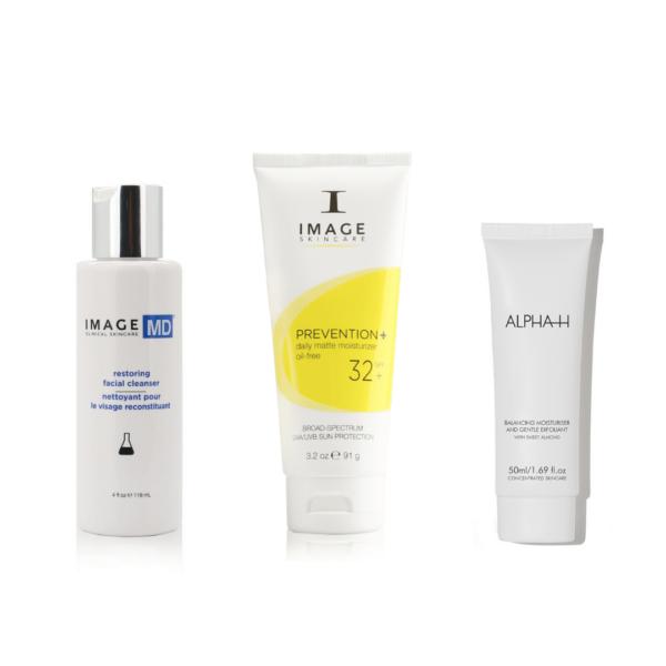 3 producten mannen image skincare md restoring facial cleanser, prevention 32 dagcrème en alpha-h balancing moisturizer and gentle exfoliant