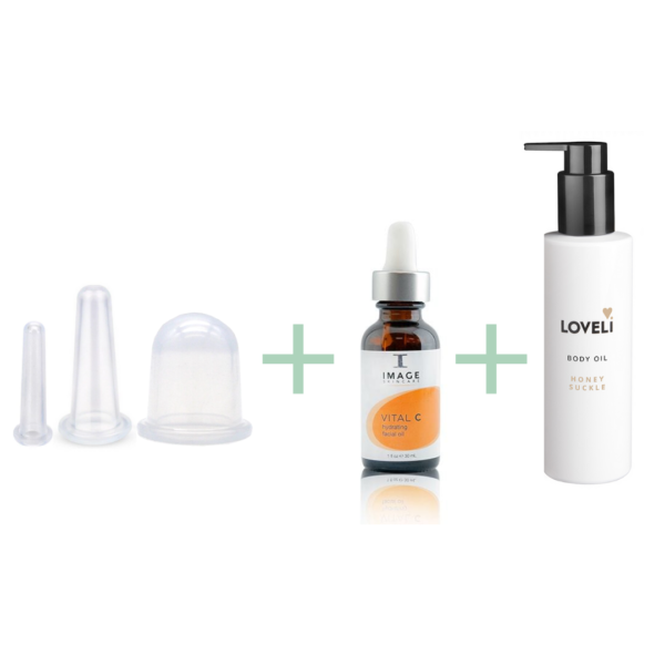 Cupping set compleet - 3 cups + body oil loveli + facial oil vital c image skincare