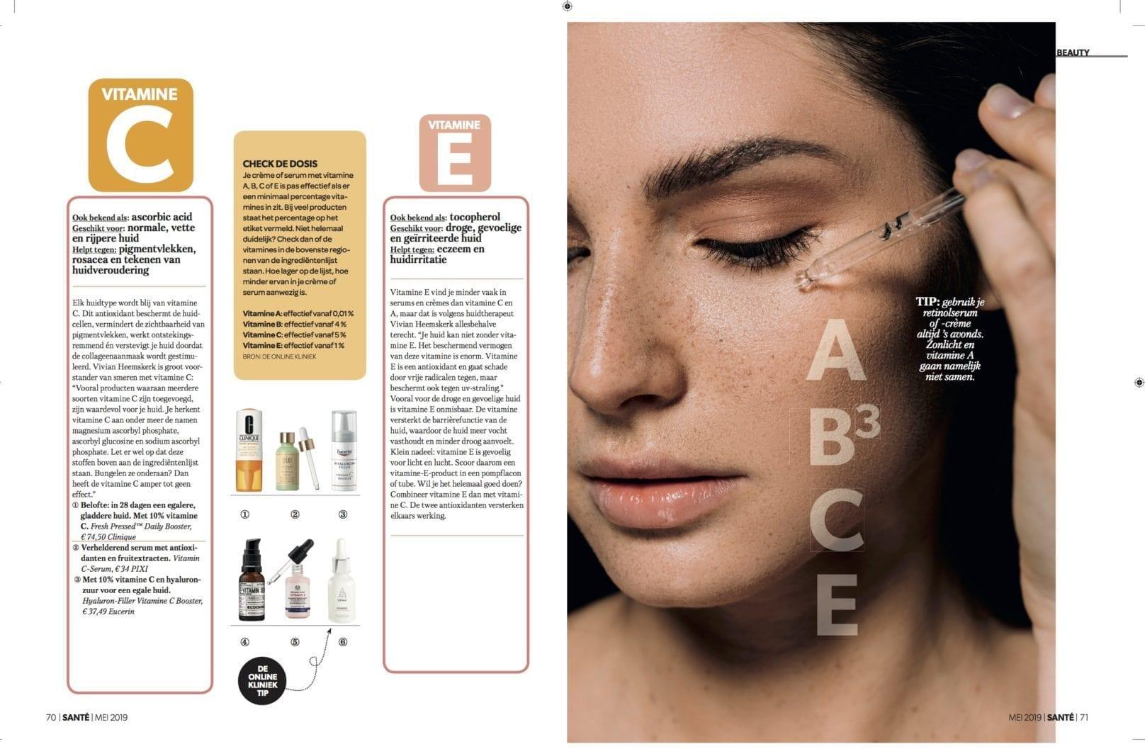 Publicatie Santé magazine | Alles over vitamines voor je huid
